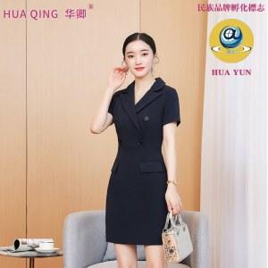 气质女夏季收腰短袖时尚V领职业连衣裙8089