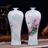 景德镇陶瓷彩花浮雕花瓶
