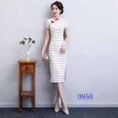短袖格子旗袍