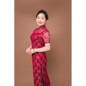 双层蕾丝短袖旗袍