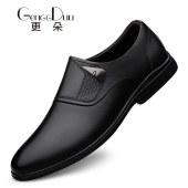 更朵男鞋头层牛皮商务鞋正装套脚鞋