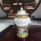 景德镇重工珐琅彩(仙阁清居)将军瓶