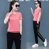 夏款纯棉女短袖长裤运动套装-HMLS5823