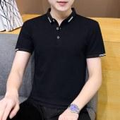 夏季新款纯色POLO衫立领短袖T恤男士商务T153