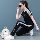 夏款纯棉女短袖长裤时尚套装-HMLS5822