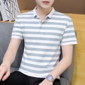 2021新款男时尚条纹纯棉短袖POLO衫A347-T157