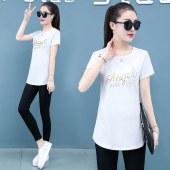 短袖T恤女夏季年新款纯棉大码圆领上衣T265