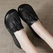 头层牛皮真皮复古软皮软面牛筋软底女鞋