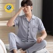 纤琦斯夏季纯棉男士短袖长裤开衫家居服睡衣套装