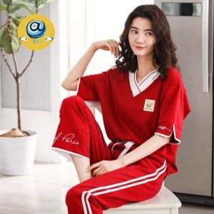 纤琦斯夏季女士纯棉睡衣短袖长裤家居服