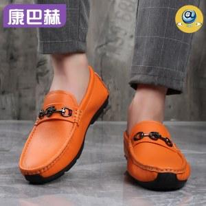 康巴赫专利抗菌头层牛皮豆豆男鞋
