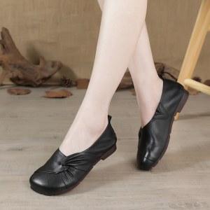 头层牛皮复古软底软面平底女鞋大码4143妈妈单鞋
