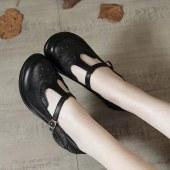 头层牛皮复古丁字扣浅口女士软底粗跟单鞋女妈妈鞋百搭