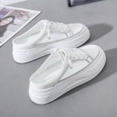 新款板鞋女透气休闲皮面女鞋