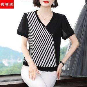 薇蜜绣短袖t恤女中年妈妈洋气夏季宽松纯棉打底衫2021条纹T恤上衣9355