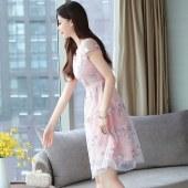 薇蜜绣心机连衣裙新款夏收腰显瘦气质贵夫人高端洋气流行裙子8966
