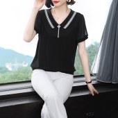 薇蜜绣2021夏新款大码女装洋气上衣宽松妈妈短袖翻领遮肚小衫雪纺衫9086