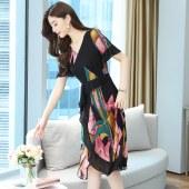 碎花连衣裙女夏装新款荷叶边洋气长裙雪纺气质女神范收腰裙子