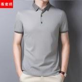 薇蜜绣夏季纯色简约桑蚕丝polo衫男中年夏装短袖T恤翻领薄款半袖上衣男Y47