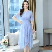 薇蜜绣雪纺碎花连衣裙女新款夏装裙子仙女超仙森系长裙女夏吊带裙8175