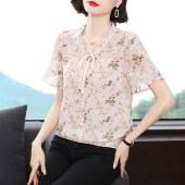 薇蜜绣2021夏装新款中年妈妈雪纺衫短袖上衣洋气小衫40岁中老年衬衫9338
