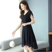 薇蜜绣黑色连衣裙夏新款女赫本风不规则显瘦高贵雪纺有女人味的裙子8987