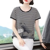 纯棉条纹短袖T恤女夏装大码中老年妈妈装夏季上衣老年人t恤衫9361
