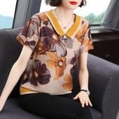 中年妈妈夏装2021新款奶奶上衣短袖t恤中老年洋气印花小衫女9363