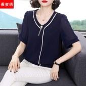 雪纺衫女夏短袖2021新款洋气宽松小衫时尚大码中年妈妈装半袖9331