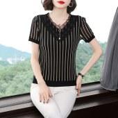 2021夏装条纹大码T恤网纱短袖上衣中年妈妈显瘦体恤小衫女9531