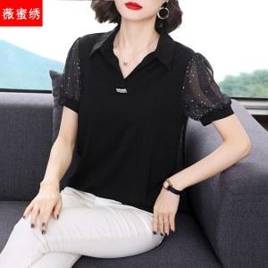 2021夏装新款短袖雪纺衫宽松妈妈装洋气遮肚子小衫大码上衣9505
