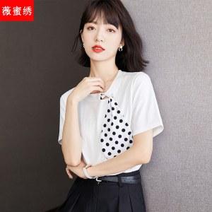 2021年夏款设计感波点丝巾领结t恤女短袖5830