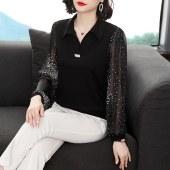秋装新款长袖雪纺衫宽松妈妈装洋气遮肚子小衫大码上衣9105