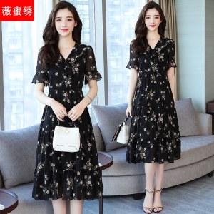 夏装新款宽松显瘦娃娃领黑色碎花中长裙荷叶袖气质雪纺连衣裙8698