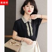 衬衫女装2021夏季新款方领短袖上衣设计感小众宽松衬衣5855