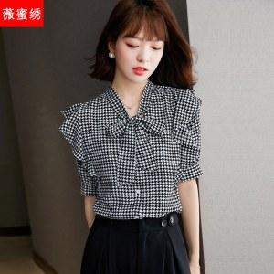 2021年夏款◆宽松蝴蝶结飘带设计感小众雪纺上衣5835
