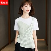 2021年夏款不规则短袖T恤女假两件收腰显瘦上衣5832