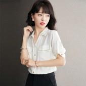 2021年新款文艺衬衫女半袖雪纺白色港味法式上衣春秋5864