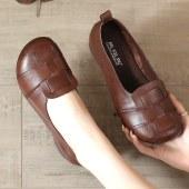 头层牛皮平底编织大码中老年单鞋