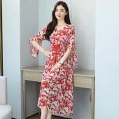 贵夫人egg裙法式初恋轻熟风荷叶袖印花连衣裙子雪纺桔梗小众8339