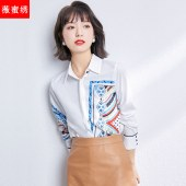 春款法式设计感小众长袖白色雪纺衬衫气质上衣5813
