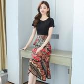 假两件连衣裙夏装新款雪纺拼接阔太太贵夫人高端洋气流行裙子