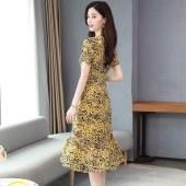 夏装大码女装新款仙女性感印花裙子复古修身长裙鱼尾连衣裙8025