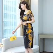 阔太太连衣裙女夏装新款贵夫人中年妈妈收腰显瘦气质裙子夏天8353