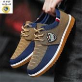 帆布系带男鞋中老年男士布鞋 S63