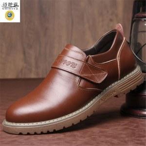 诗地亚 马丁靴男低帮套脚真皮靴子