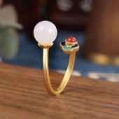 祝福者 925银和田玉戒指镀金开口民族宫廷风戒指CJZ603