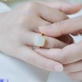 祝福者 925银磨砂开口戒指和田玉戒指CJZ612