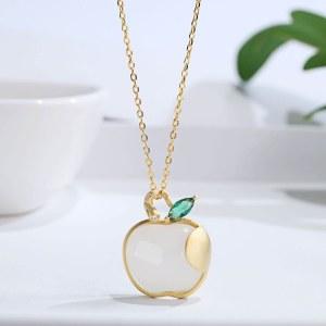 祝福者 S925银镶嵌和田玉白玉苹果吊坠项链ZDZ006