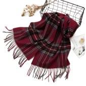 凯妍时尚羊毛经典格型围巾